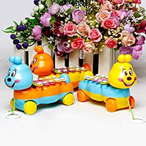 Sanwooden Toy Gift Xylophone Toy Baby Kids 5-Note Xylophone Cute Pull-Along Musical Development Colorful Toy Gift Toys for All Ages