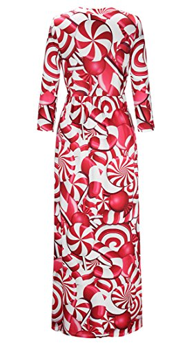 and Long Boho Digital Red Dress Printed Women's Maxi Dresses Party Sleeve Demetory Christmas Casual HwzB5