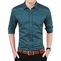 YTD Mens 100% Cotton Casual Slim Fit Long Sleeve Button Down Printed Dress Shirts