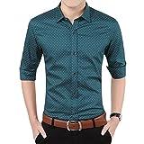 YTD Mens 100% Cotton Casual Slim Fit Long Sleeve Button Down Printed Dress Shirts US M Green
