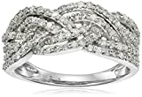 10k White Gold 3/4cttw Diamond Twisted Ring, Size 7