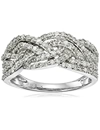 10k White Gold 3/4cttw Diamond Twisted Ring