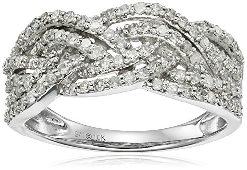 10k White Gold 3/4cttw Diamond Twisted Ring, Size 7 by Amazon Collection