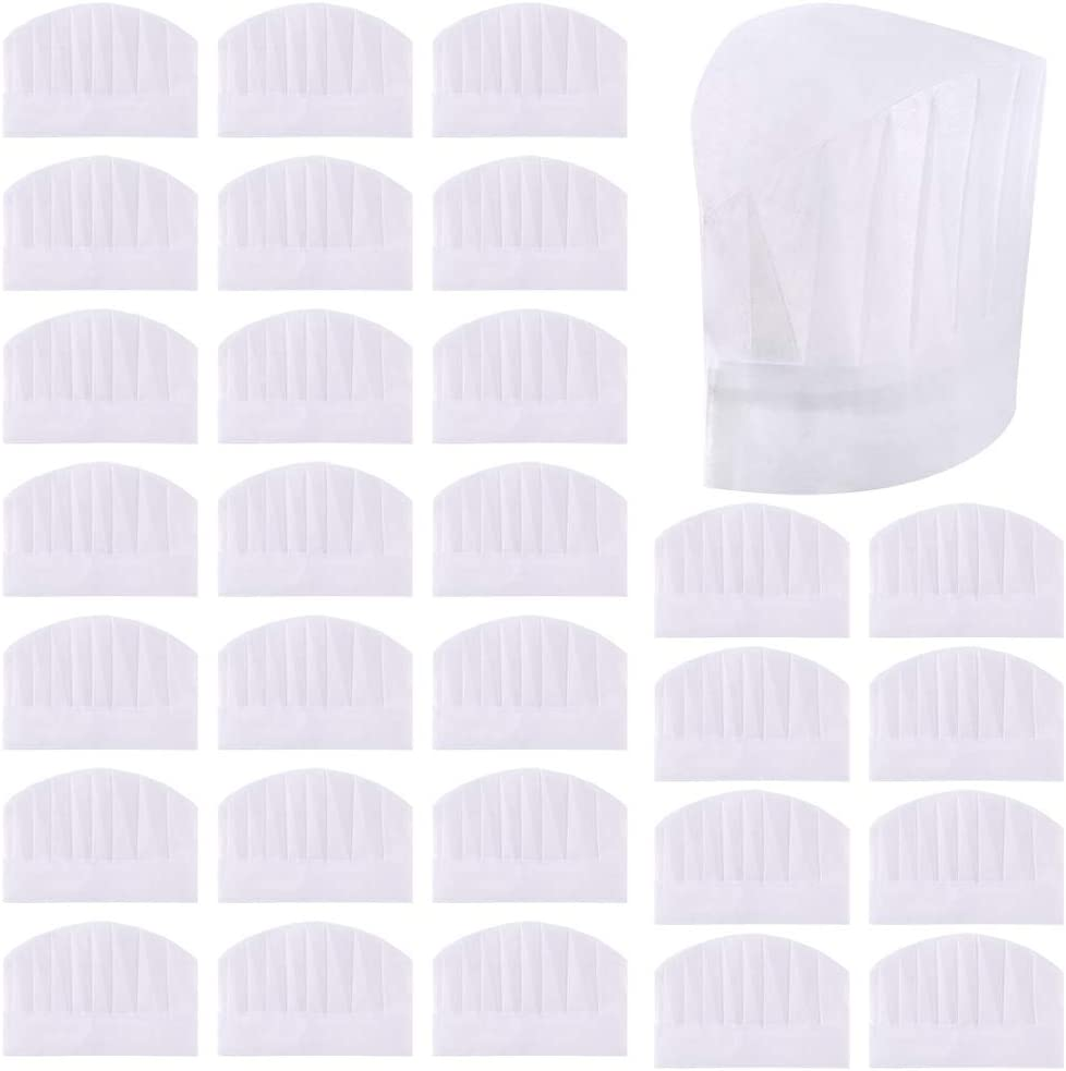 Sntieecr 30 Pack 8 Inch Kids White Paper Chef Hats, Adjustable Chef Toques Kitchen Chef Caps for Cooking, Baking, Party Favors, Home Kitchen, School and Restaurant