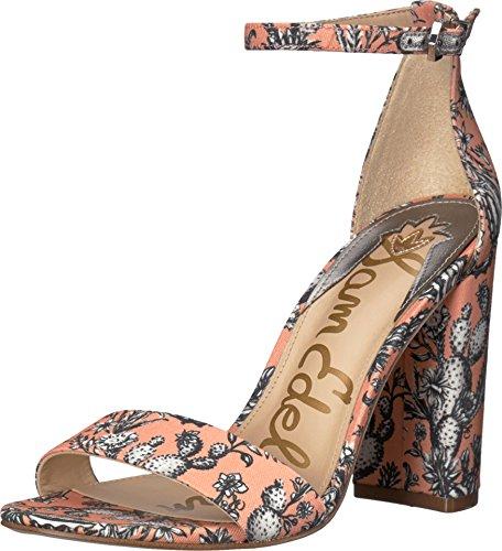 Sam Edelman Women's Yaro Ankle Strap Sandal Heel Orange Multi Cactus Garden Print 7 W US ()