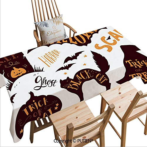 SCOCICI Tablecloths Easy Care Halloween Symbols Trick or Treat Bat Tombstone Candy Scary Decorative for Indoor Outdoor Camping Picnic,W70xL55(inch)]()