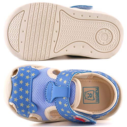 Moceen Kids Soft Microfiber Leather Sandals Light-Weight Toddler Boys/Girls Closed Toe Pre School Shoes