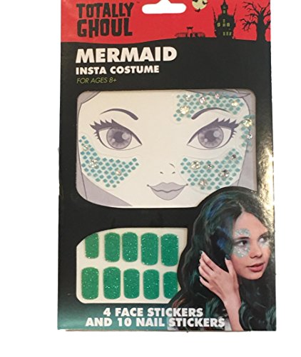 Totally Ghoul Girls Halloween Face Sticker Tattoos & Nail Stickers for Unicorn, Mermaid & Cat Costumes (Mermaid Face Tattoo & Nail Sticker Set) for $<!--$8.65-->