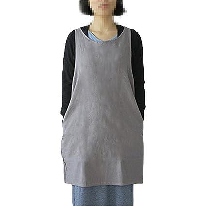 b96033fef48bc Amazon.com  KKTech Japan Style Soft Cotton Linen Apron Solid Color Halter  Cross Bandage Aprons Kitchen Cooking Clothes (Light Gray)  Home   Kitchen