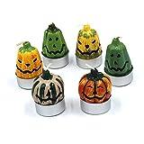 Bodai No smoke Wax Halloween Candle Creative Smiling Pumpkin Ghost Tealights (Set/6) (1 set)