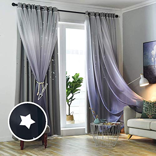 (Hughapy 1-Piece Gradient Tulle Overlay Hollow-Out Stars Curtain Star Cut Out Blackout Curtains for Bedroom Double-Layer Blackout Curtains for Kids Room Bedroom)