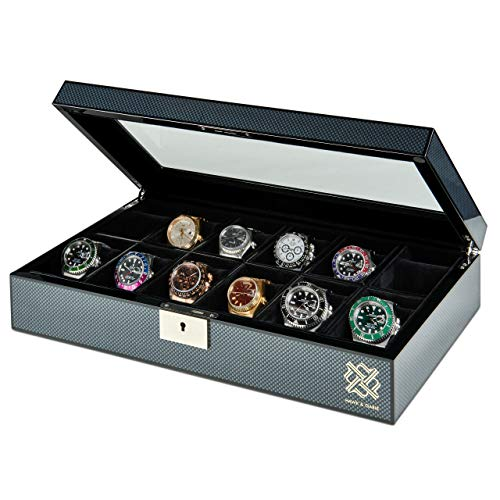 Elegant, 12 Slot Watch Box Organizer with Lock | Premium Jewelry & Watch Display Case | Storage Cases for Watches | Large, Glass Lid | Carbon Fiber Design Black Wooden Watch Holder | Oversized | Gift