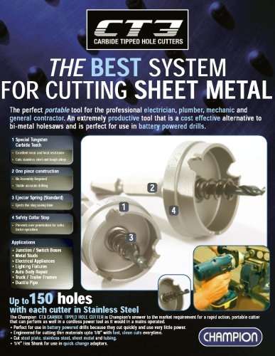 Champion CT3-1 Carbide Tipped 1-Inch Hole Cutter-1/8-Inch Sheet Metal by Champion Cutting Tool Corp (Image #1)