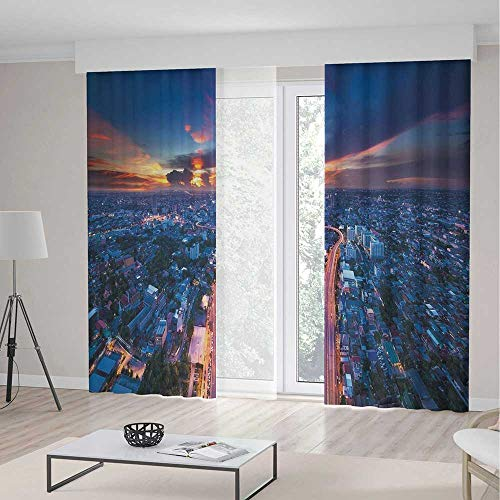 iPrint Urban Room Decor Curtains,Bangkok Skyline at Sunset Evening Thailand Cityscape Metropolis Architectural Photo,Living Room Bedroom Curtain 2 Panels Set,142 W 106 L,Blue Coral -