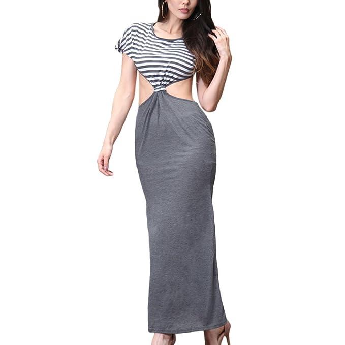 Zhuhaixmy Damen Streifen Rundhals Kleid Packung Hip Slim Bare Taille  Stitching Abendkleid: Amazon.de: Bekleidung