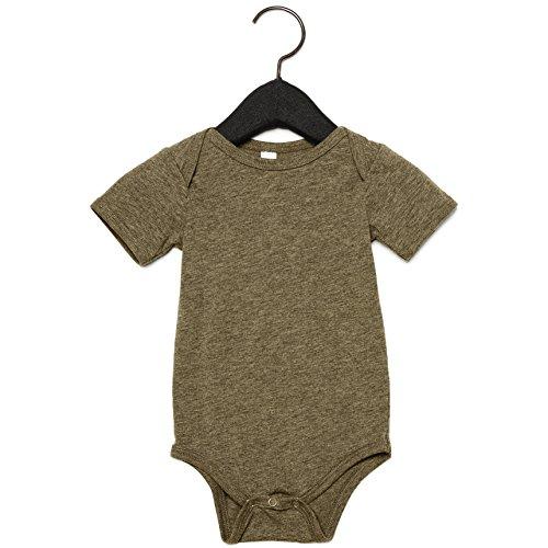 Bella + Canvas Unisex Baby Triblend Short Sleeve Onesie (3-6 Months) (Olive Triblend) Bella Short Sleeve Onesie