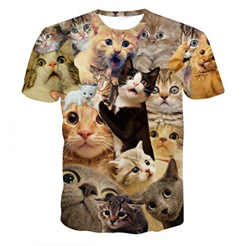 Clearance! Kstare Men's 3D Print Kitty Cat Slim Short-Sleeved Tops Blouse Casual T Shirt Tee (Kitty Denim Shirt)