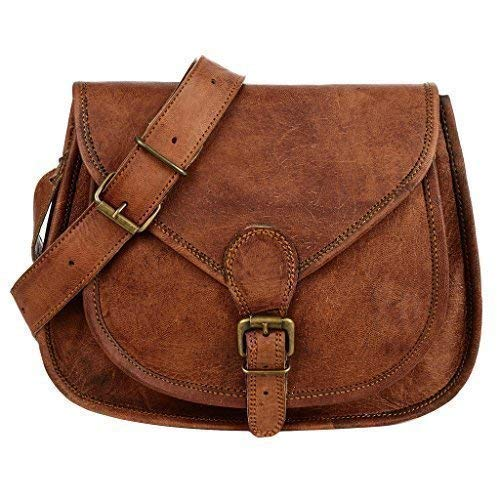 54dfee92242 Curved Brown Leather Saddle Bag