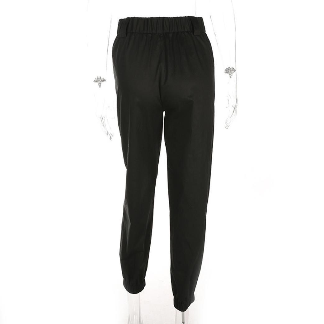 S, Khaki Womens Wide Leg Loose Sports Cargo Jogging Sweat Slacks Pants Wawer Harem Baggy Hip Hop Dance Trousers