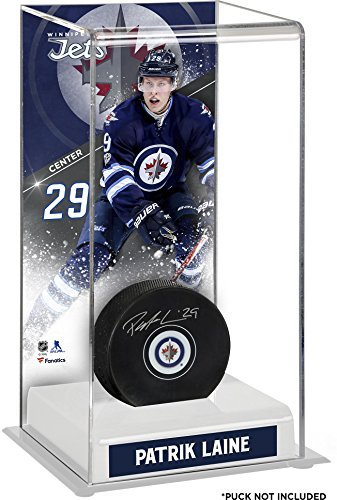 (Sports Memorabilia Patrik Laine Winnipeg Jets Deluxe Tall Hockey Puck Case - Hockey Puck Free Standing Display Cases)