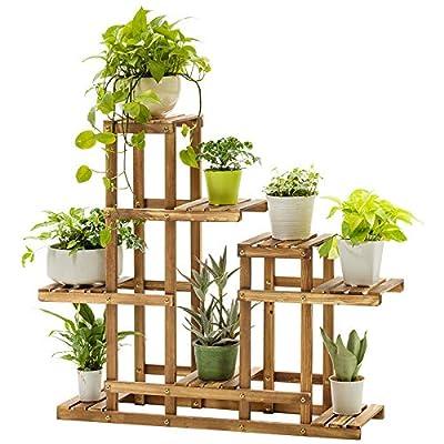 Multi-Tier Bamboo Plant Stand Plant Flower Display Rack, Wood Planter Rack Flower Pots Holder Indoor Outdoor Flowers Shelf Organizer Storage Rack Shelving Unit, for Plants, Books, Shoes, Toys (B) : Garden & Outdoor