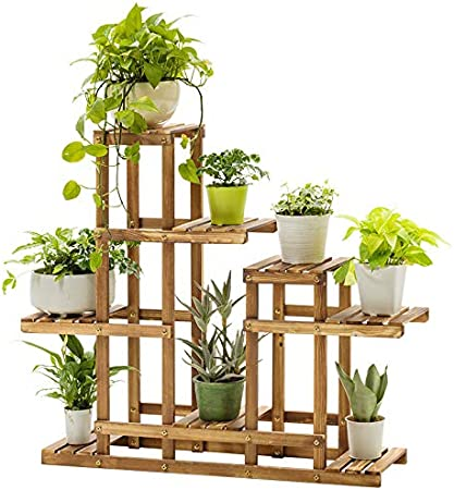 Amazon Com Multi Tier Bamboo Plant Stand Plant Flower Display