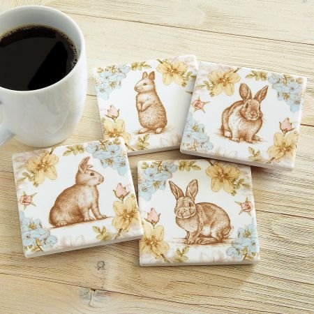 Rabbits and Flower Ceramic Coasters- 3-3/4 Square, 4 designs (1 of each).