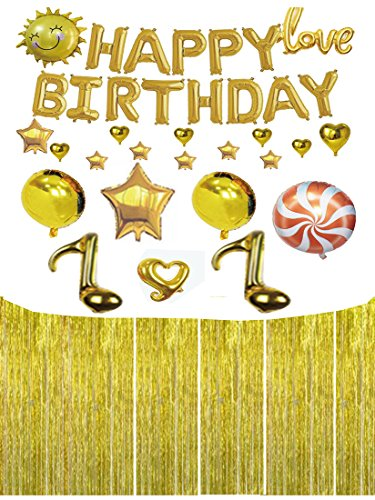 Apol Total 44 Pcs Gold Aluminum Foil Balloon Includes HAPPY BIRTHDAY Letter,Musical Notes,Stars,Love,Heart,Smile Sun,Lollipop,Round Balloon and Fringe Curtain Birthday Party Decor