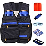 Lanlan Kids Tactical Vest for Nerf Gun N-strike Elite Series(with 20-Dart Refill + Protective Goggles Glasses + 2 Pcs 6-dart Quick Reload Clip + Waist Band + Strap)