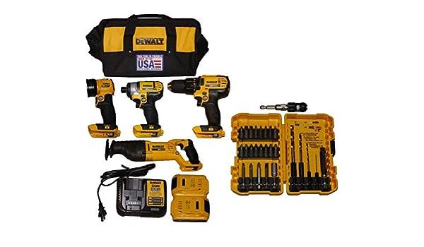 DEWALT 20V MAX Cordless Lithium-Ion 4-Tool Combo Kit 20V Combo Kit w/ 27-Piece Compact Rapid Load Set (DCK420D2 +DW2504)