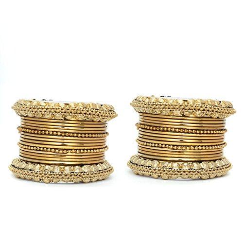 Indian Antique Vintage 2pc Bollywood Gold Bangle Set Wedding Costume Fashion Jewelry (Bollywood Costumes Images)