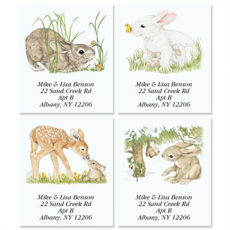 (Personalized Bunny Spring by Linda K. Powell Square Easter Address Labels- Set of 144 Self-Adhesive, Flat-Sheet rectangle labels)