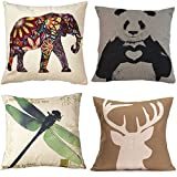 BPFY 4 Pack Home Decor Cotton Linen Sofa Animals Throw Pillow Case Cushion Cover 18 x 18 Inch (Elephant,Panda,Deer,Dragonfly)