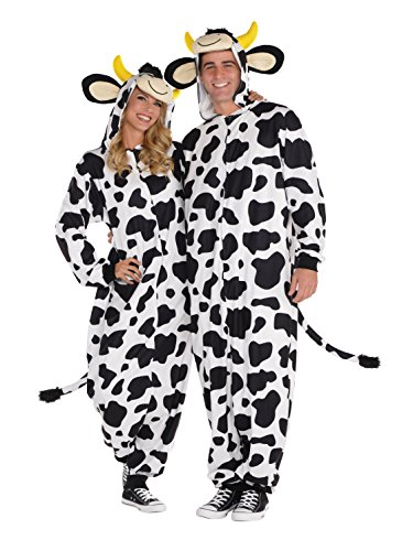 AMSCAN Zipster Cow One Piece Pajama Halloween Costume for Adults, Small/Medium, with Attached Hood and Tail ()