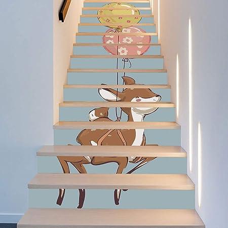 13 Unidades Fawns Globo Nordic Habitación de los niños Decoración Escaleras Pegatinas Moda Creativa Escaleras Decoración Arte Decoración de la Pared de Tela 18 * 100 cm: Amazon.es: Hogar