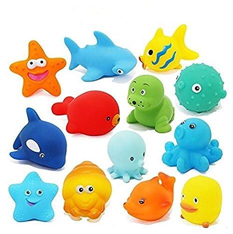 Toywale animal bath New/Funy Cute Cartoon Animal Style Soft Floating Squeaky Rubber Bath Toys Pack Of 12CHU CHU TOY