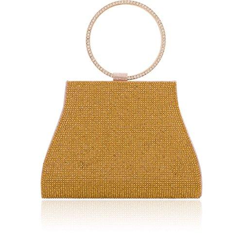 for Handle London Evening Xardi Shimmer Women Gold Bridal Bags Diamante Wedding Clutch Metallic Top qSRw1EP