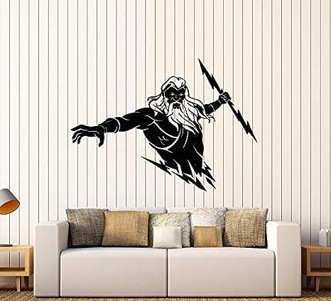 Vinilo Tatuajes de Pared Decoración del hogar Niño Dormitorio Etiqueta de la Pared Zeus Mitología Griega Antigua Dios Relámpago Etiqueta Mural