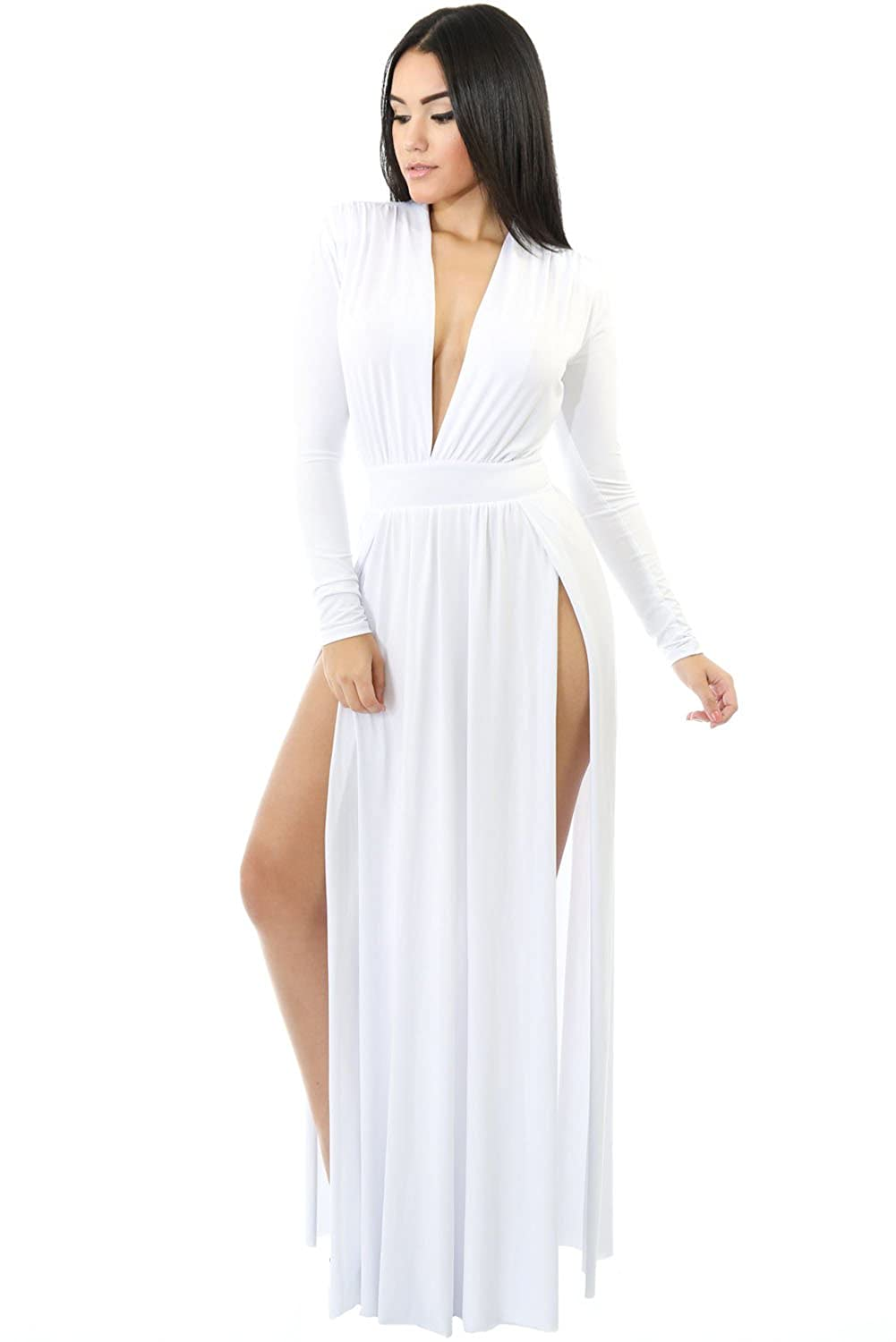 Womens New Long Sleeves Double Slit Maxi Dress