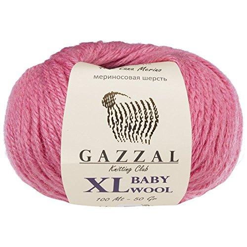 3 Pack (Ball) Gazzal Baby Wool XL Total 5.28 Oz/328 Yrds, Each Ball 1.76 oz (50g)/109 Yrds (100m) Super Soft, Medium-Worsted Yarn, 40% Lana Merino 20% Cashmere Type Polyamide, Pink - 831