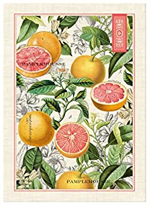 "Michel Design Works Pink Grapefruit Kitchen Towel, Natural Woven Cotton 20"" By 28"""