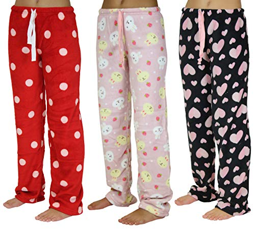 3 Pack: Plush Fleece Pajama Bottoms/Sleep Lounge Pants Girls,Set 1-Size ()