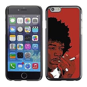 TECHCASE**Cubierta de la caja de protección la piel dura para el ** Apple iPhone 6 Plus 5.5 ** Black Man Smoking African Curly Hair Art Drawing