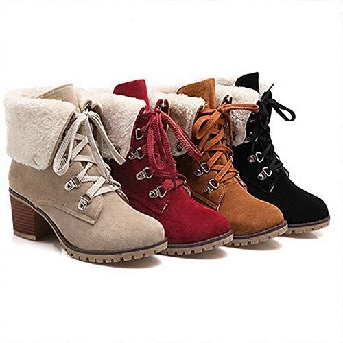 per invernali autunno antiscivolo cotone da stivali tacchi Wsr e in donna stringate Stivali alti rosso Axzqw5Ygtn