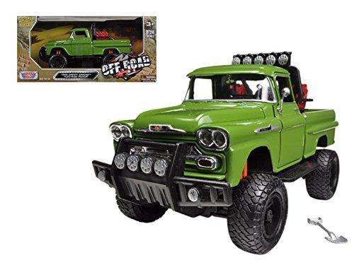 Motormax 79135 1958 Chevrolet Apache Fleetside Pickup Truck Off Road Green 1/24 Diecast Model