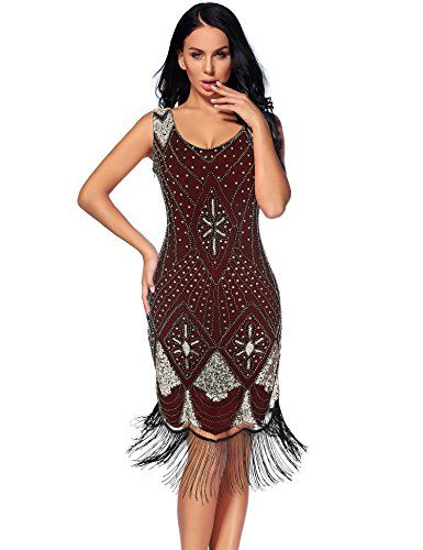 Flapper Girl Women's 1920s Gatsby Cocktail Sequin Art Deco Flapper Dresses (XL, Burgundy)
