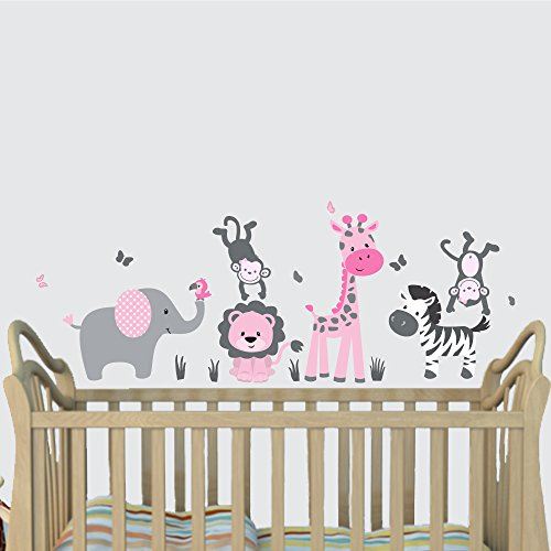 Mini Mural Wall (Mini Pink Jungle Animal Wall Decals, Jungle Mural, Elephant, Lion, Giraffe, Monkey)