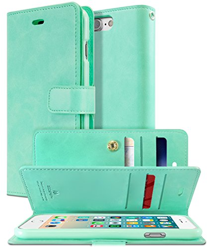 iPhone 8 PLUS & iPhone 7 PLUS Case [Extra Card Slots] GOOSPERY Mansoor Diary [Double Sided Wallet Case] PU Leather TPU Casing [Drop Protection] Cover for Apple iPhone 8 PLUS&7 PLUS (Mint) IP7P-MAN-MNT