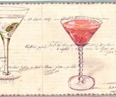 Wallpaper Border Spicher Co Fun Martini Glass on Beige, Bar and Cocktail Border