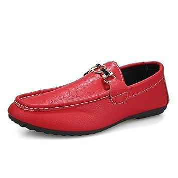 Kangfang-shoes Mocasín de conducción para Hombres Mocasines de Barcos Moda Color Puro Resbalón clásico